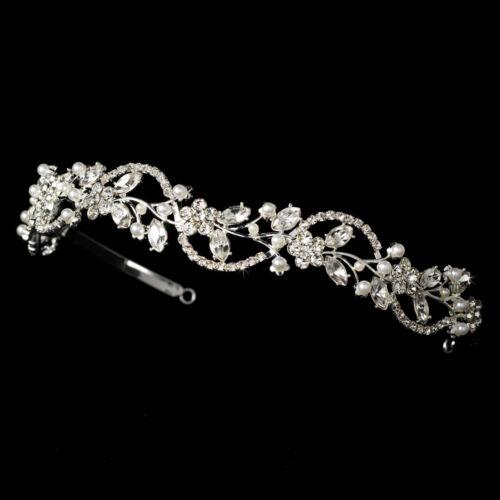 Head Piece #7392 cristal et perle Mariage Floral Bandeau