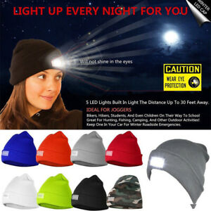 5-LED Light Cap Beanie Hat with 2 Batteries for Hunting Running Fishing Camping