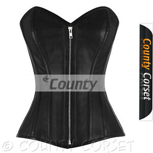 e120113808 Image is loading Overbust-Bustier-Full-Steel-Boned-Victorian-Gothic-Black-
