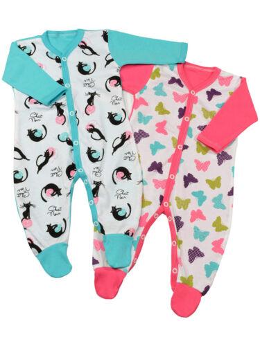 Baby Schlafanzug Mädchen Schlafoverall Strampler Motiv Baumwolle 2er Pack 22811