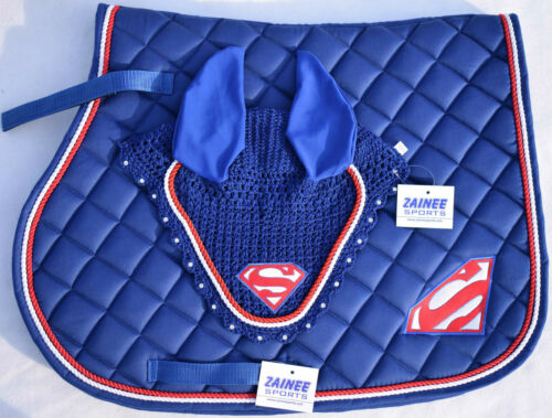 SUPER MAN SADDLE PAD SET FLY VEIL HORSE BONNET DIAMANTE EQUESTRIAN THREE COLORS