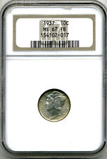 1937 Mercury Dime (10¢) Ngc Ms67 Fb (Scarce Full Bands Coin)