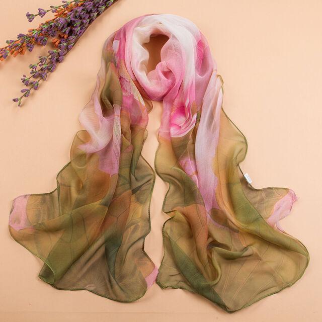 New Style Women All-match Georgette Chiffon Long Wrap Shawl Lotus Flower Scarves