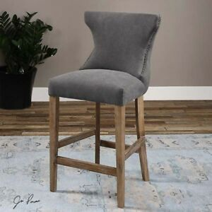 Image Is Loading Stonewashed Gray Linen Amp Birch Wood Counter Stool