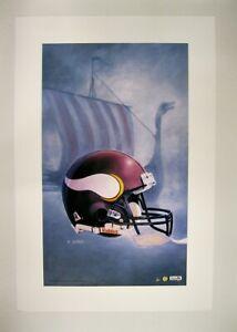 "Minnesota Vikings NFL Football 20""x 30"" Team Lithograph Print by Kelly Russell"