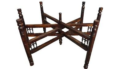 Handcrafted Moroccan 30 inches Wide Tray Wood Folding Stand Holder