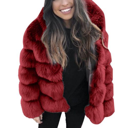 Hiver femmes Faux vison à capuche neuf fausse fourrure veste chaud épais Veste D/'extérieur