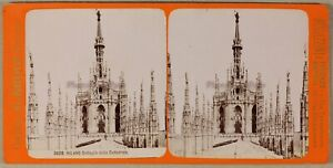 Milan Cattedrale Tetto Foto Brogi Stereo PL55L2n1 Vintage Albumina c1880
