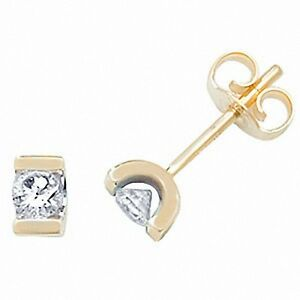 Diamond-Solitaire-Earrings-Tension-Set-Yellow-Gold-0-25ct-Appraisal-Certificate