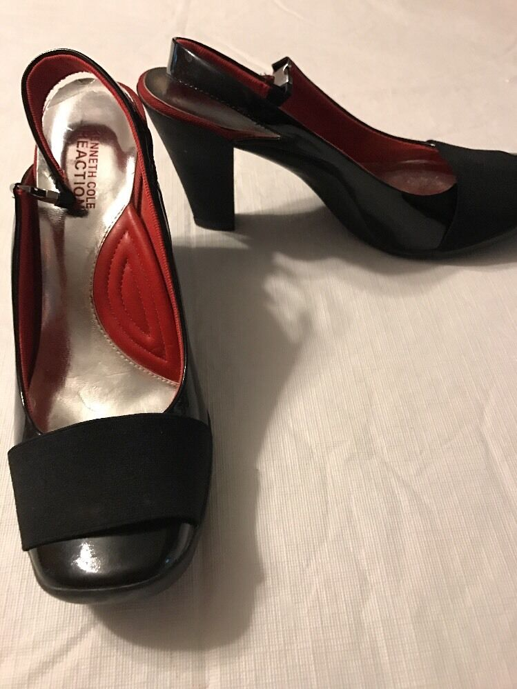 Kenneth Women's Cole Reaction Pipe Dream Black Leather Women's Kenneth Slingback Heels Size 7 dc5d7a