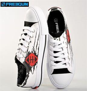 Chaussures-Baskets-Blanc-Motif-Noir-Rouge-Freegun-Pointure-39