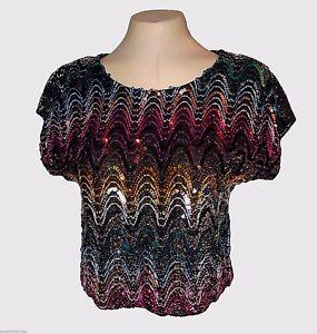Vintage 1970s, Evening Top, David Benjamin, Lurex-Metallic Sequins Colorful, L