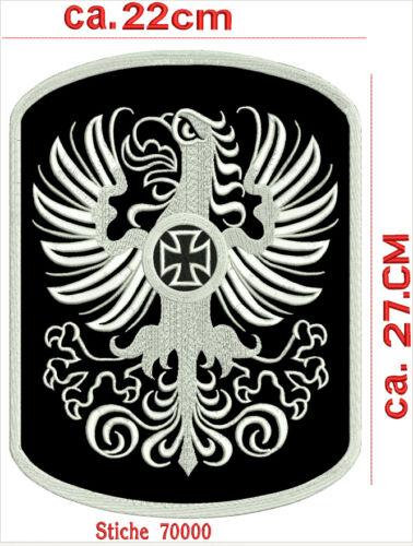 Aquila con croce di ferro schiena PATCH RICAMATE 100/% vera pelle