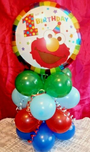 "18/"" FOIL BALLOON TABLE DISPLAY DECORATION AIR FILL  1st BIRTHDAY ELMO SESAME ST"