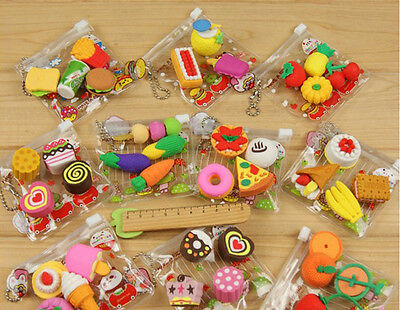 4 Pcs Stationery Prizes Simulation Food Bags Cake Erasers Stationery Mini Eraser