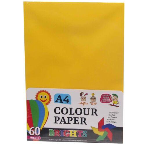 60 Sortiert A4 Farbe Papier Handwerk Kunst Schule Entwürfe Anzeigen Kreative