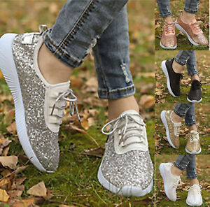 Women-Lace-Up-Sequin-Glitter-Trainers-Ladies-Casual-Sports-Sneakers-Shoes-Size