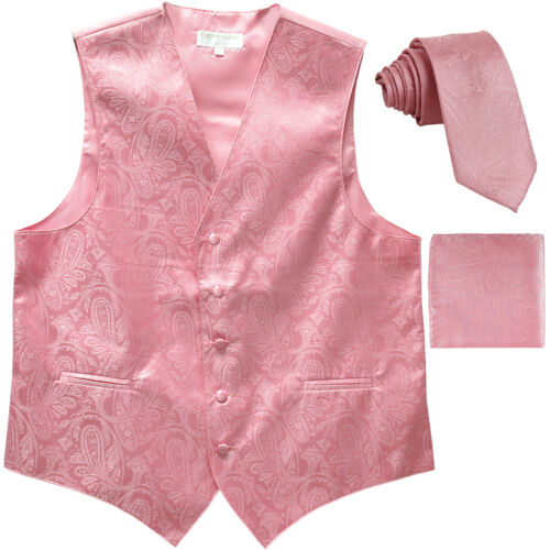 New Men/'s Formal Vest Tuxedo Waistcoat/_necktie set paisley pink wedding prom
