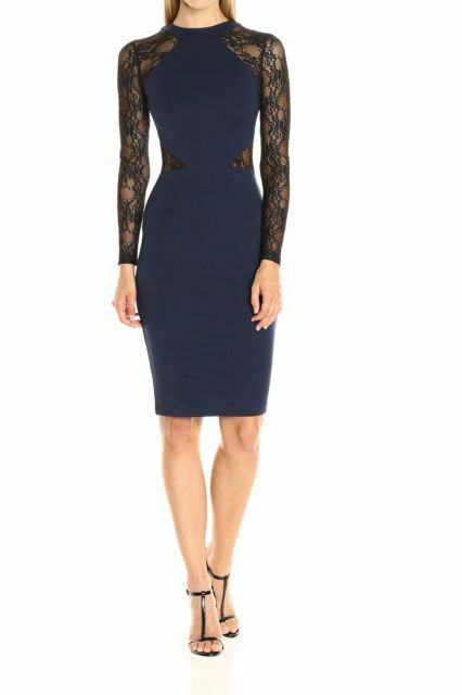 French Connection NEW bluee Illusion Lace Women's Size 8 Bodycon Dress