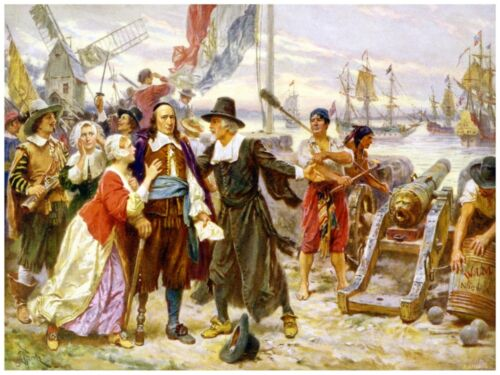 9162.Pilgrim meets with settlers in new world.POSTER.decor Home Office art