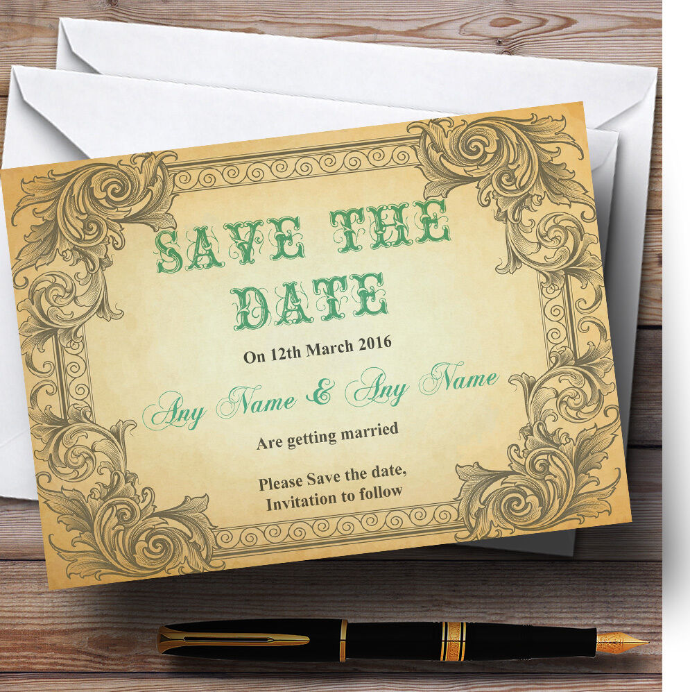 Typography Vintage Turquoise Postcard Personalised Wedding Save The Date Cards