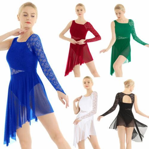 Damen Kleid Single Langarm Asymmetrisch Tanzkleid Ballett Latein Tanzen Kostüm