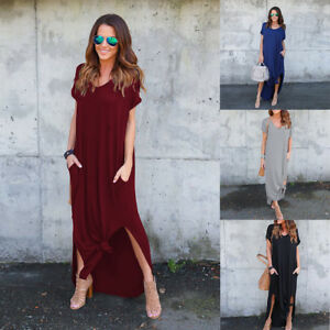 a5265a622dd2 Details about Women s Casual V Neck Side Split Beach Long Maxi Dress Loose  Shirt Dresses Plain