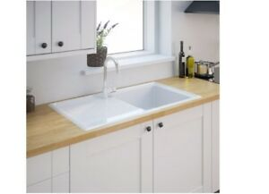 Burbank 1 Bowl Gloss White Ceramic Kitchen Sink And Drainer B ...