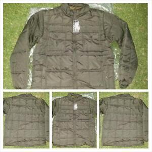 87622e16aa3 Mens Olive Bubble Jacket Black Long Sleeve Puffer Jacket Winter ...