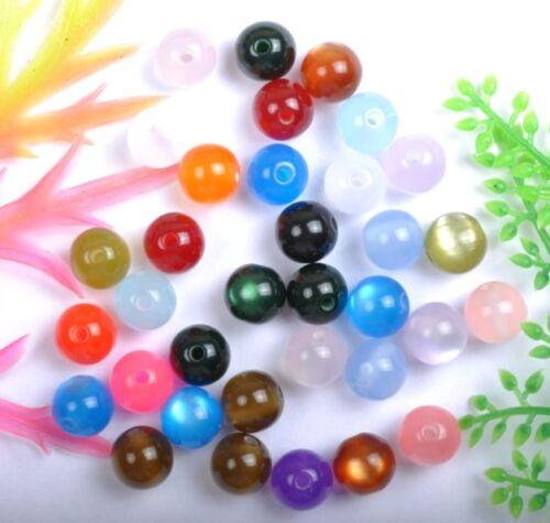 Free Ship 100pcs Mixed color Acrylic cat/'s eye  Loose Charm beads  8MM