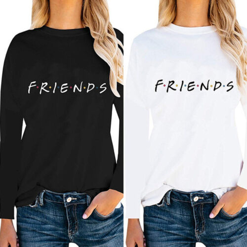 Friends Women Casual Long Sleeve T Shirt O Neck Letter Print Loose Tops NWUS