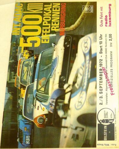 2./3. Sep 1972 Int ADAC 500km Eifelpokal Rennen Nürburgring PROGRAMMHEFT IX03 å*