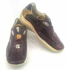 FENNIX ITALY WOMEN'S NAPPA PATENT CROC SNEAKER SHOES BURGANDY SIZE 7