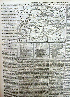 Periódico GUERRA CIVIL 1862 W mapa de Kentucky & Tennessee ...