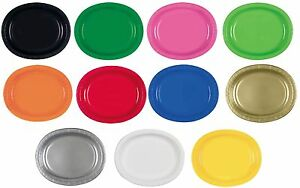 Image is loading 8-Coloured-Oval-Paper-Party-Plates-Dinner-Platter-  sc 1 st  eBay & 8 Coloured Oval Paper Party Plates Dinner Platter 12