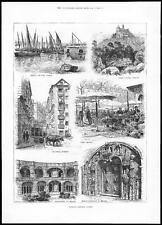 1884 PORTUGAL Views of LISBON Pena Castle Cintra  Cloisters at Belem   (036)