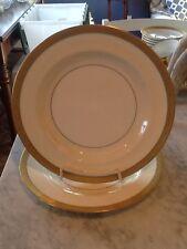 Haviland Limoges H1920 PAIR Dinner Cream Rim White Center Gold Encrust FREE SHIP