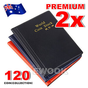2x Collecting 120 Coin Collection Storage Holder Money Penny Album Book Pockets 646690427149