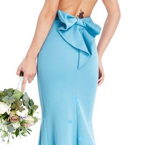 Occasioni Dress Maxi New Party Detail Elegant Blue Uk12 Bow speciali Wedding qTXOp7Hw