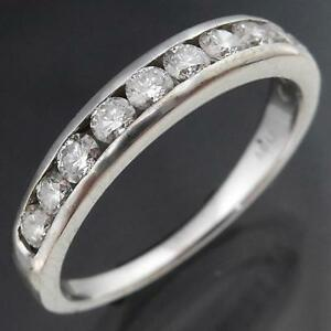 1-2-Way-Around-with-12-x-DIAMOND-10k-Solid-White-GOLD-ETERNITY-RING-BAND-Sz-M