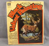 Deer Black Velvet Painting Kit Sealed Vintage Paint By Numbers Stag 10x14