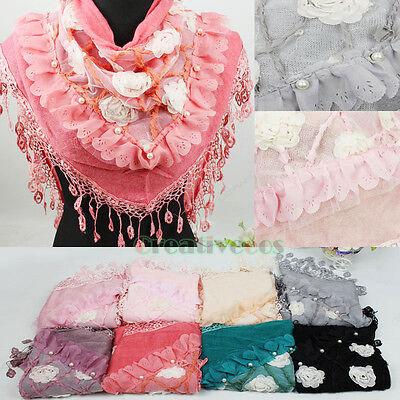 Fashion Mesh Lace Tassel Flower Ruffle Trim Pearl Knit Triangle Scarf Shawl Wrap