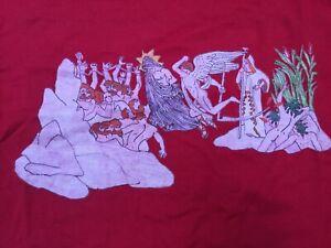 Rare-Vintage-Greek-Mythology-Philosophy-Art-Crimson-Red-T-shirt