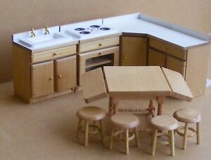 1:12 Scale 9 Piece White & Pine Kitchen Set Dolls House Miniature ...