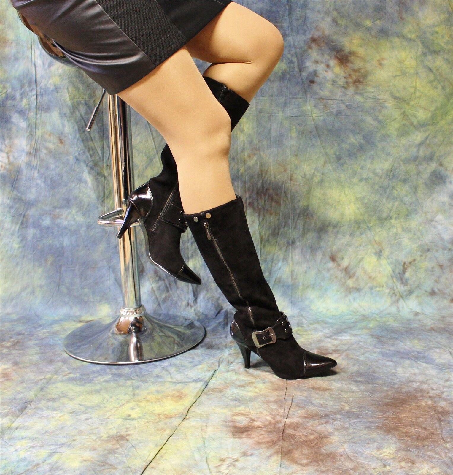Wild botas de cuero negro con hebilla y remaches delantera