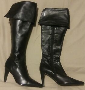 amanda smith new over the knee leather women black boots