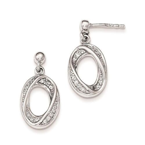 925 Sterling Silver Polished Fancy CZ Dangle Post Earrings 11mm x 21mm