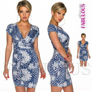 New-European-Belted-Floral-Short-Sleeve-Dress-Party-Summer-Stretch-Size-8-10-S-M