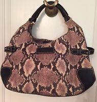 KATE SPADE SNAKESKIN  Look Reptile print Fabric Shoulder Bag Purse Blue Leather