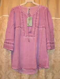 Andree-039-Blue-Lavender-Boho-Peasant-Mineral-Wash-Western-Tassel-Tunic-Top-S-M